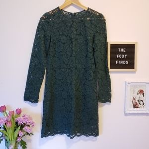 3/$25 - H&M Deep Forest Green Floral Lace Dress 0